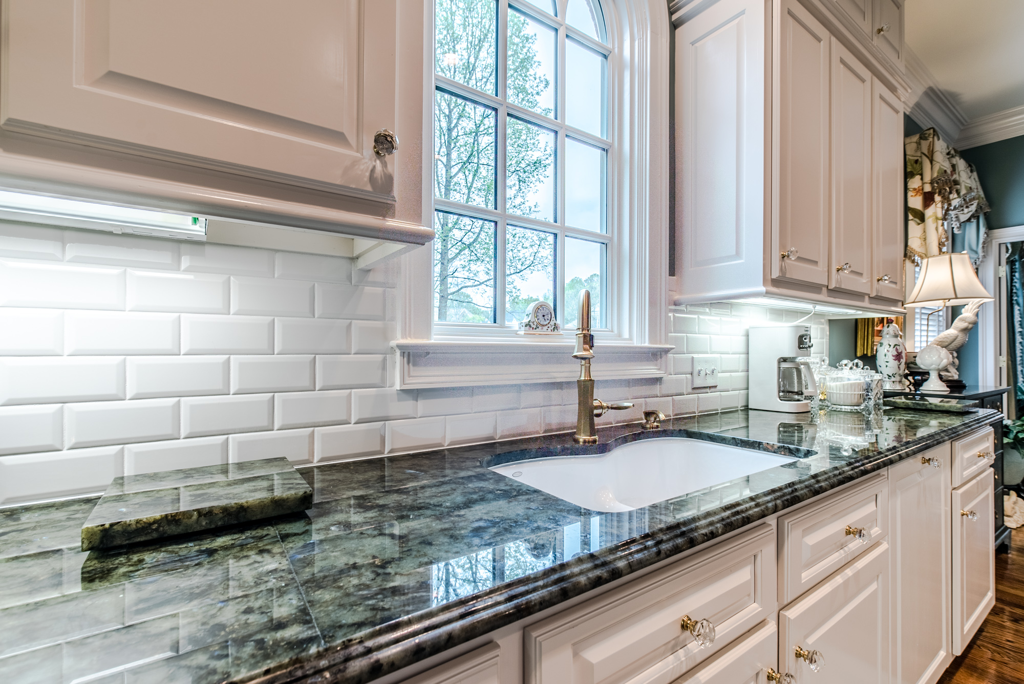 Subway tile backsplash with white subway tiles at East Coast Granite & Marble
