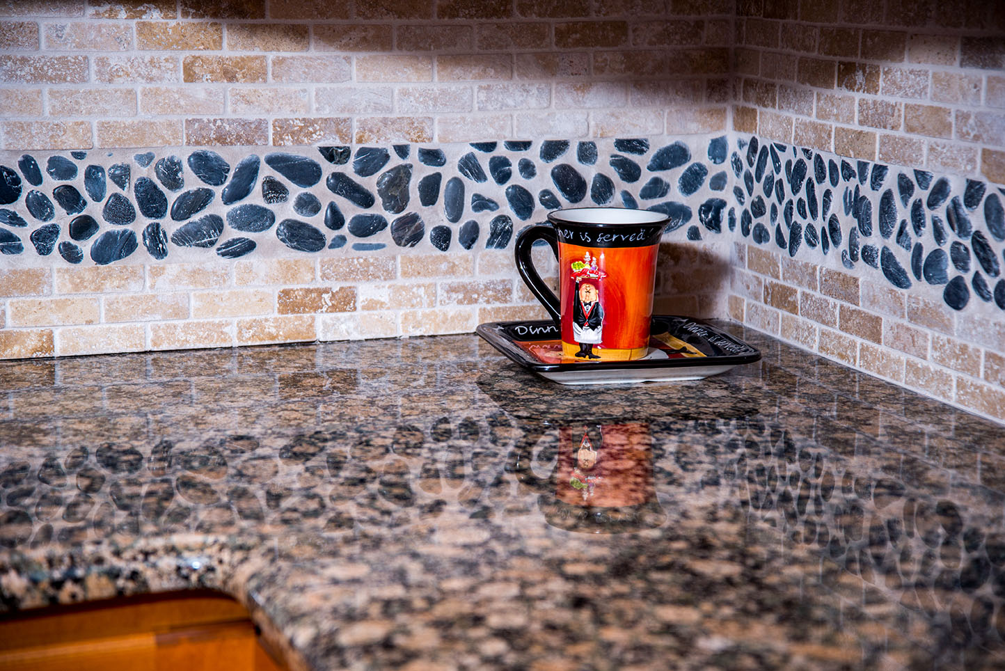Countertops made from the classy Baltic Brown granite.  Baltic Brown displays the full array of beauty offered by granite.