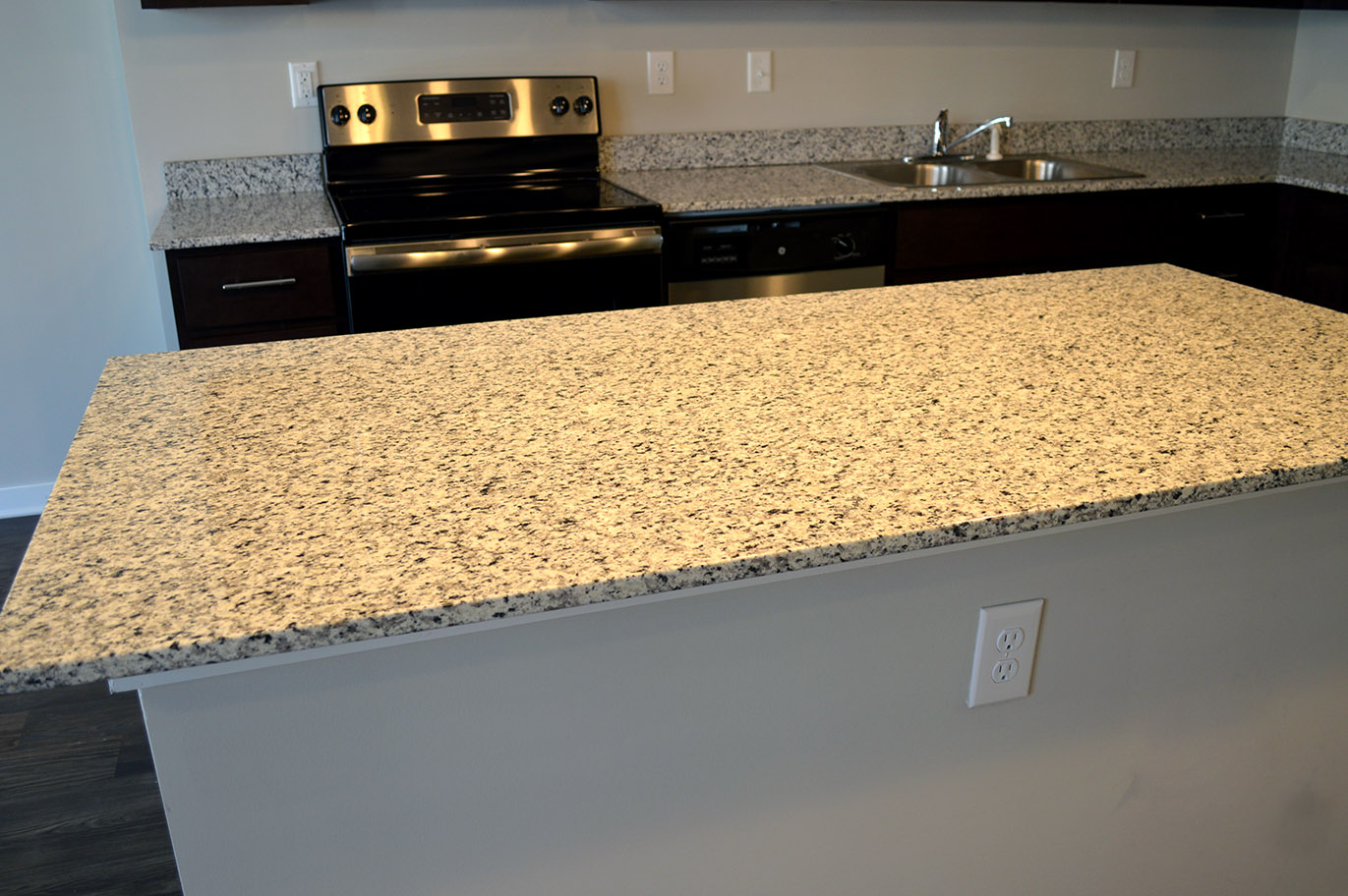 Main & Stone apartments (Greenville, SC) boast luxurious living spaces with high-end touches like this granite countertops by East Coast Granite